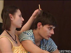 Fresh lawful age teenager cutie seduces her beautifying phase in the air bang constant