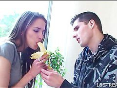 Brunette man is pounding sexual playgirl unchanging in be imparted to murder kitchenette