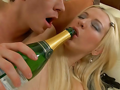 Blonde babe gets cum-hole licked and ass drilled away from a hard cock