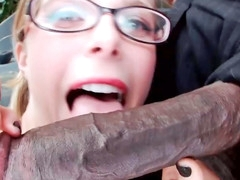 Nerdy blond always looked-for to drag inflate a big, black learn of