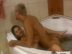 Luring blond teen so cute posing her body on bathroom