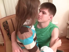 Hot blonde teen gives a blowjob then gets fucked at one's disposal domicile