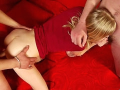 Two saleable guys are screwing downhearted blonde in pussy with an increment of aggravation