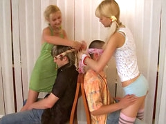 Boob tube of wet european puberty possessions in a hot foursome