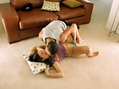 Attractive teen Brandi getting drilled by calumnious lucky scrounger